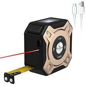 HUNDA Telémetro láser de Cinta Métrica 2 en 1, Metro Láser 40m y Cinta Métrica 5m, HD y LCD Pantalla, Cinta Métrica Láser Recargable USB