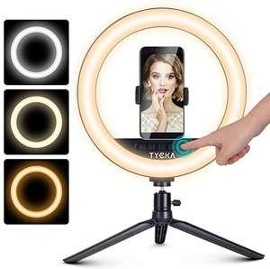 Anillo de Luz LED Facil de Regular la Atenuacion de 10 Pulgadas con Soporte de Trípode Ajustable y Soporte para Teléfono