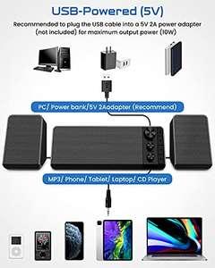 Altavoces PC Sobremesa Bluetooth 5.0, 10W Subwoofer Sonido de Canal 2.1