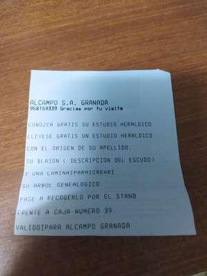 Estudio heráldico gratis sin compra mínima ALCAMPO GRANADA