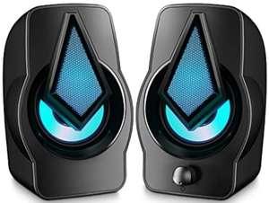Altavoces PC 10W. Sonido Estéreo, Control Integrado, LED RGB