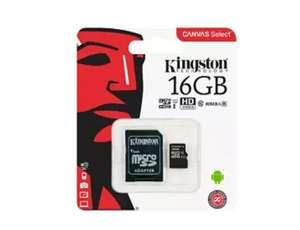 Tarjeta MicroSD - Kingston Technology Canvas Select, 16GB, UHS-I, Clase 10