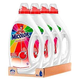 Micolor Detergente Gel Colores Vivos 30 Lavados - Pack de 4, Total 120 Lavados