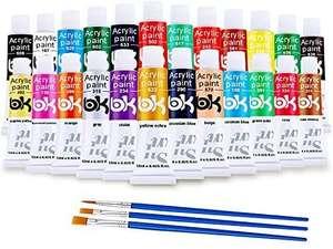 Pintura Acrílica, 24 Tubos Colores Pintura Acrilico con 3 Pinceles