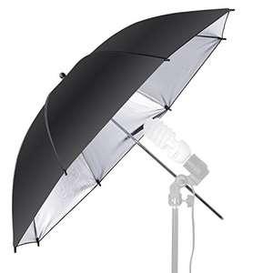 Paraguas reflector profesional para flash y estudios fotográficos, color negro y plata, 84 cm
