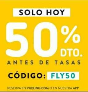 50% descuento vuelos Vueling (tasas excl.) para volar del 18/10 al 16/12 SOLO HOY
