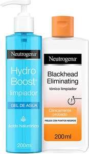 Neutrogena Limpiador Pieles con Puntos Negros, 200 ml +Gel de Agua Limpiador Facial con Ácido Hialurónico, 200 ml