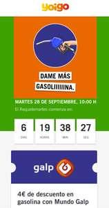 4€ de Descuento en 30€ de compra en Gasolina GALP con yoigo