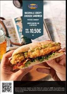 Menú Ribs Nashville crispy chicken sandwich + Patatas Crunchy + Jarrita Mason Jar o refresco a 10.50 euros