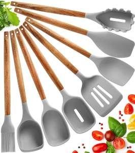 Juego 8 utensilios de cocina de silicona antiadherentes [Aplicar cupón 10€]