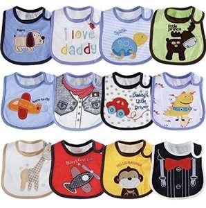 Pack de 12 Baberos de Bebé ,Impermeables
