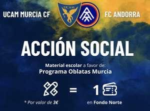 GRATIS entrada UCAM Murcia CF por traer material escolar