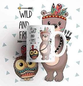 Taza de cerámica Oso y búho bebé Indio