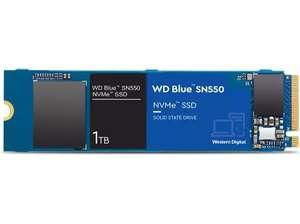 Disco duro SSD 1 TB - Western Digital Blue SN550 NVMe, Interno, 3D NAND, Lectura 2400 MB/s, Azul