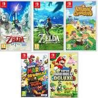 The Legend of Zelda: Skyward Sword, Breath of the Wild, Super Mario Bros, 3D World, Animal Crossing