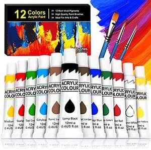 Kit de 12 Pinturas Acrílicas + 3 Pinceles
