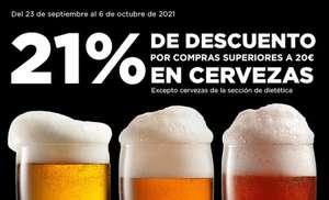 Todas las cervezas al 21% de descuento + ofertas del 50% en el corte ingles