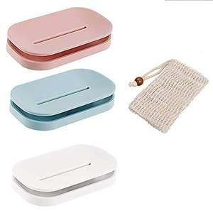 Pack de 3 Jaboneras de plástico ABS con bolsa de jabón suave natural
