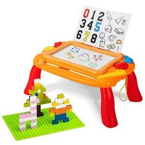 Pizarra magnética para niños, 3 en 1, para niños pequeños, mesa de actividad, con bloques de juego
