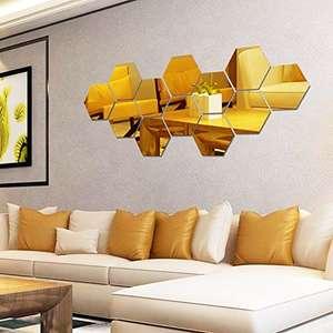 Espejos de Acrílico Autoadhesivos 12 piezas Hexágonos color oro o negro