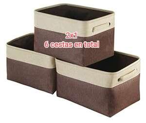2x1 en cajas/cestas de almacenamiento de tela de 38x25x23 cm. En total 6
