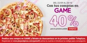 Con tus compras en GAME 40% de descuento en tu próximo pedido en Telepizza