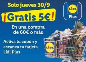 LIDL (Jueves 30/09): 5€ gratis por una compra igual o superior a 60€