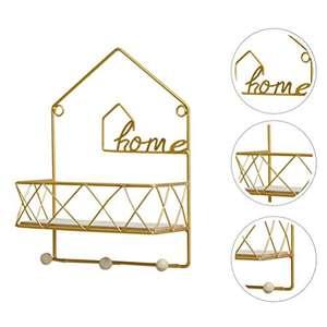 Estantes flotantes de alambre con base de Madera y perchero color oro