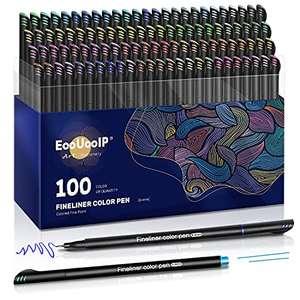 100 Rotuladores de Punta Fina de 0,4 mm, Perfecto para Manualidades, Pintar Mandalas o Material Escolar