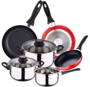 SAN IGNACIO Batería De Cocina 5 Piezas Acero Inox. Y Set 3 Sartenes (Apta todo tipo fuegos, incluido inducción)