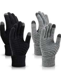 2 pares de guantes de Pantalla Táctil Guantes Termicos Tejidos para Ciclismo Conducción Correr Senderismo,