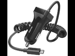 Cargador - Hama, Para coche, USB tipo C, 2.4 A, Negro