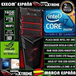 Ordenador Pc Intel i7 16GB 2TB Asus GT1030 2GB Wifi Office de Sobremesa
