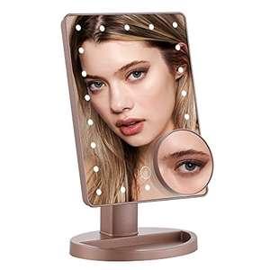Espejo de Maquillaje con 22 Luz LED, Aumento Removible 10X, Rotación de 180° Brillo Ajustable (En 2 Colores)