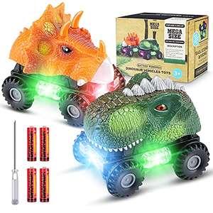 Dinosaurio Coche, 2 Coches de Juguetes de Dinosaurios con Luces LED y Sonidos