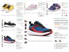 Recopilación de zapatillas para niño y niña tallas seleccionadas.