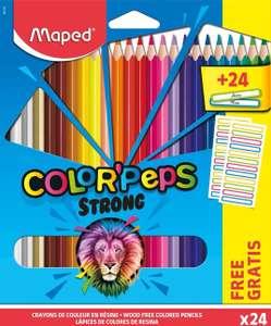MAPED 24 Lápices de colores ergonómicos triangulares + 24 pegatinas para el nombre.