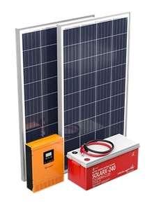 Kit Solar 2 paneles 120W, batería 2830Wh, inversor-cargador 1kW,hasta 1080Wh/d