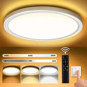 Plafon LED Techo Redondo Lámpara de Techo Moderna Regulable Ø30CM 3000K-6000K 18W Luz de Techo con Mando a Distancia
