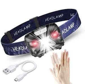 Linterna frontal LED, USB Recargable 1200mAh, 8 Modos