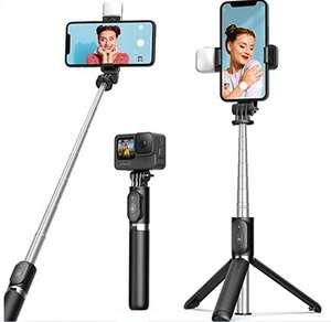 Palo Selfie Trípode con Luz, Trípode para Movil con Mando a Distancia, Inalámbrico