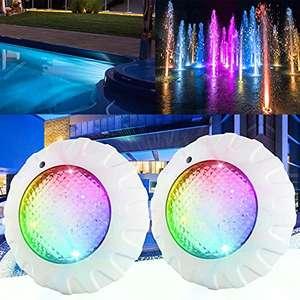 2 Focos LED de 38 W para piscina con mando a distancia RGBW 12 V