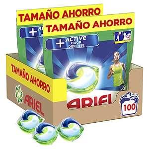 Ariel Pods Detergente Lavadora Cápsulas, 100 Lavados (Pack 2 x 50), Active Odor Defense + Promo Cashback