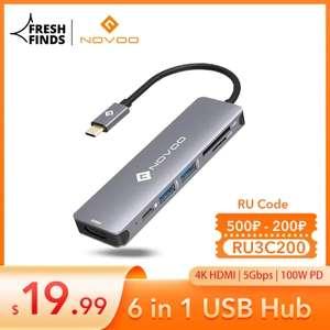 6 en 1 USB HUB NOVOO USB 3,0 tipo C a salida HDMI 4K, 100W 5Gbps