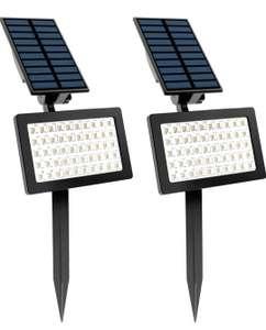 Focos Solares, T-SUN 2 Pack 50 LED Luz de Paisaje al Aire Libre con 2 Modos de Iluminación