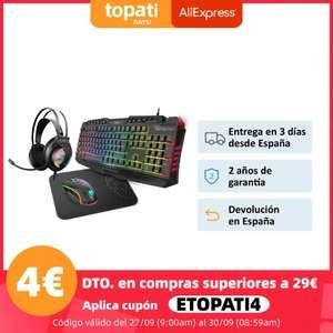 Pack gaming: Teclado Membrana + Ratón Óptico+ Alfombrilla + Auriculares (Desde España)