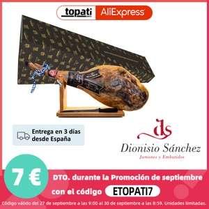 Jamón 100% Duroc 7-7,5 kg Curación Natural de + 24 Meses + Jamonero + Cuchillo (Desde España)