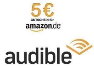 Vale de 5€ + Audiolibro + Un Mes Audible [Amazon DE, Nuevos Clientes]