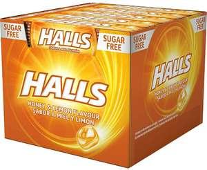 Caja con 20 paquetes de 32g de caramelos sin azúcar Halls Miel y Limón a 9,75€ • También Menta suave a 9,20€ o Té helado a 10,25€