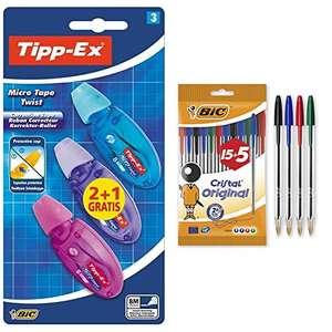 BIC Tipp-Ex Micro Tape Twist Cinta Correctora Blanca 8 m x 5 mm – Colores Surtidos, Blíster de 2+ 1 Unidades + Cristal Original Bolígrafos
